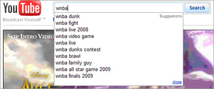 Search for WNBA in YouTube