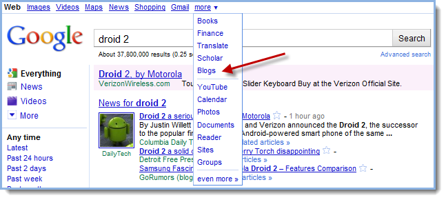"Choose ""Blogs"" from Google's drop-down menu"