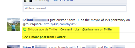 Twitter feeding directly into Facebook
