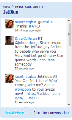 Twitter feed on JetBlue's blog.
