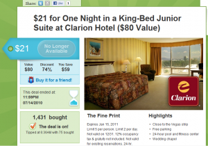 Example of a Groupon deal for hotels.
