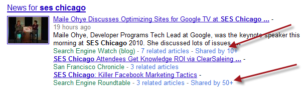Shared news items in Google Search