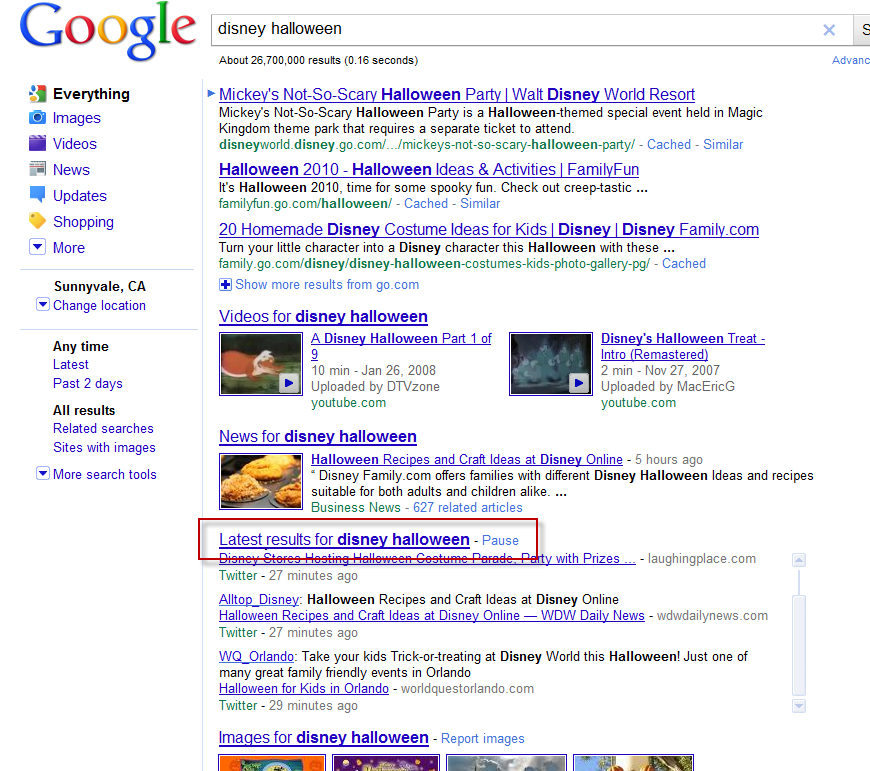 Google Real Time embedded in main search