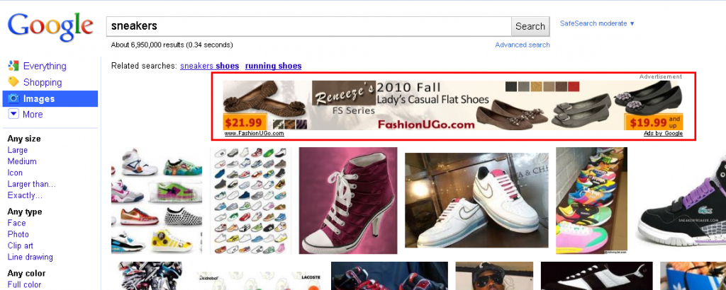 Banner ad on Google Image search