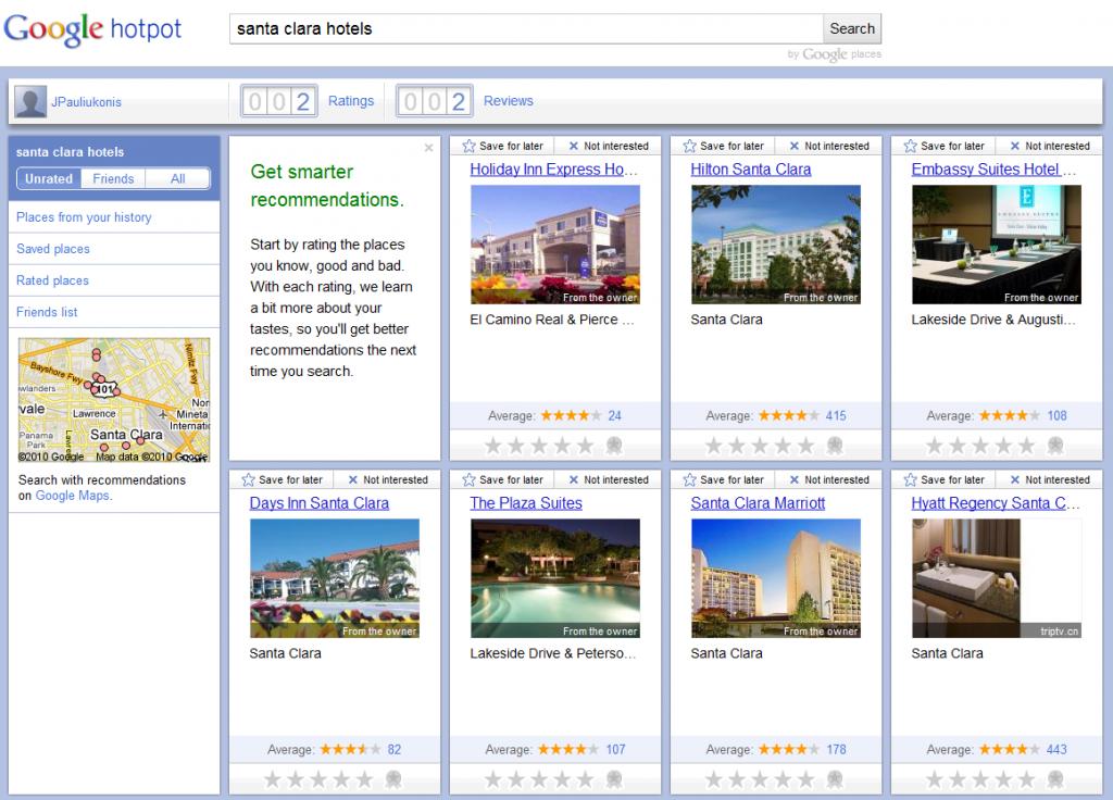 Google Hotpot example: Santa Clara Hotels