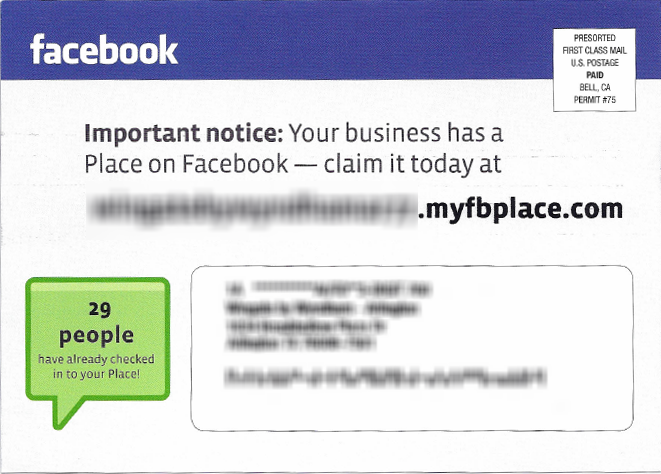 Facebook Places Postcard (front)