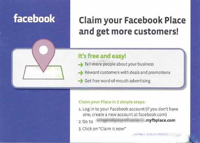 Facebook Places Postcard (back)