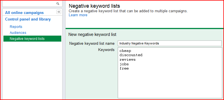 Negative keyword lists in AdWords Control panel