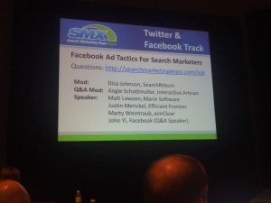 Facebook Ad Tactics for Search Marketers session at SMX West 2011