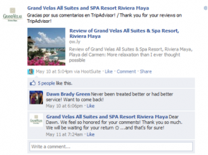 Grand Velas Facebook Engagement