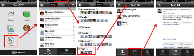 Google+ iPhone App Circles Stream