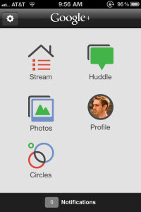 Google+ iPhone App Home Screen