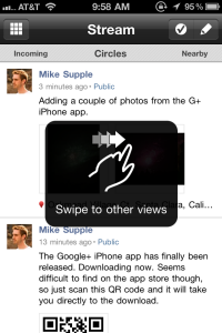 Google+ iPhone App Stream View