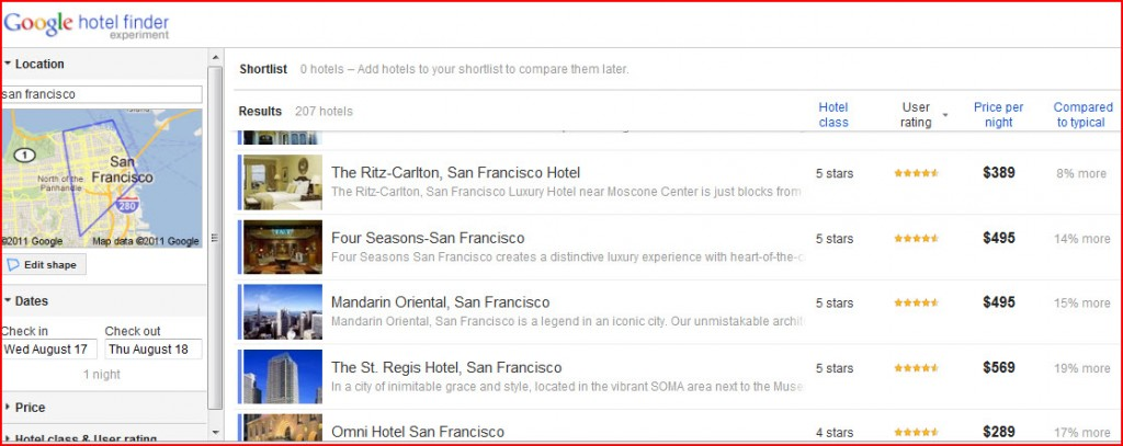 Google Hotel Finder San Francisco