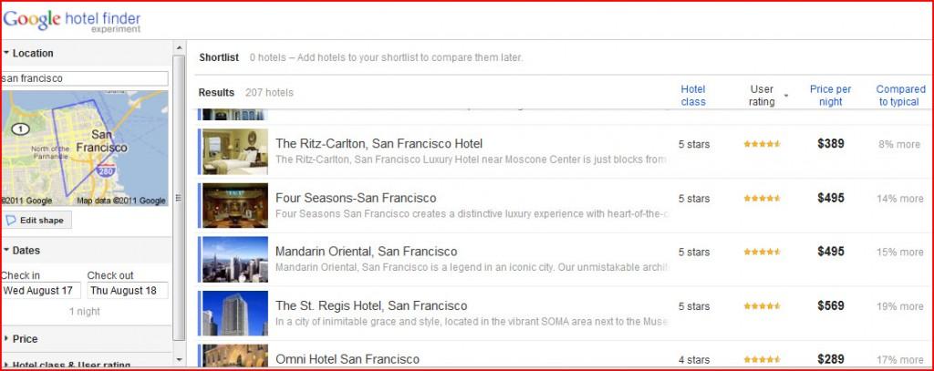 Google Hotel Finder San Francisco