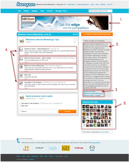 Foursquare business page for Milestone Internet Marketing