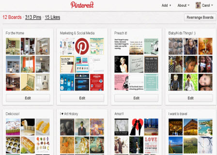 Pinterest home screen