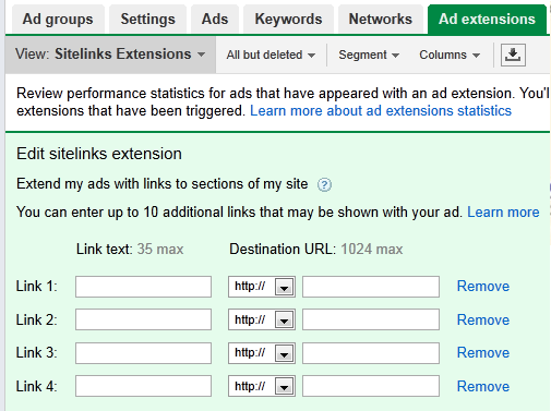 Pay-Per-Click Sitelink Extensions