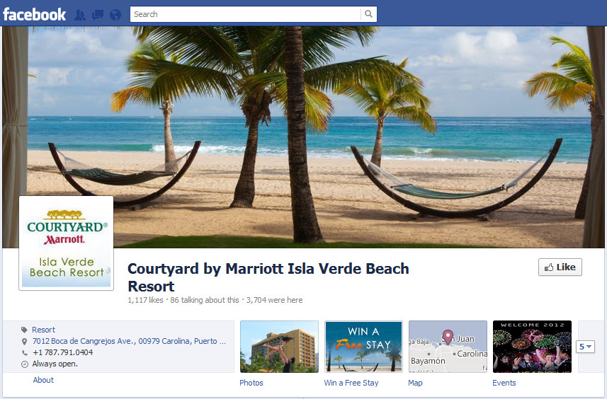 Facebook Timeline for Courtyard by Marriott Isla Verde Beach Resort