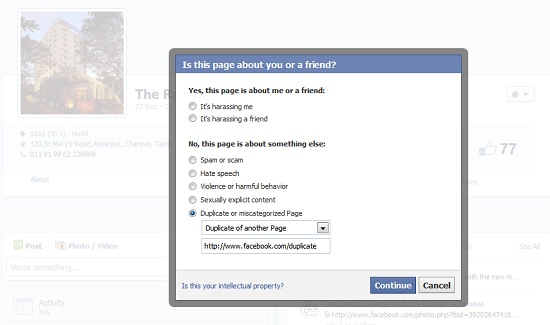 Facebook FAQs - alternative to claiming