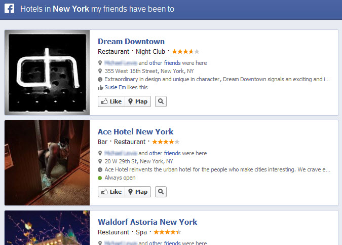 Facebook Graph Search Hotels in NY my Friends Have Been to