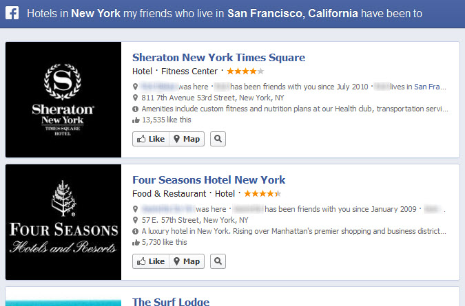 Facebook Graph Search Hotels in NY My Friends Who Live in San Francisco Have Been To