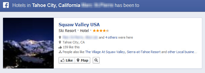 Facebook Graph Search Hotels in Tahoe My Friend Has Been To