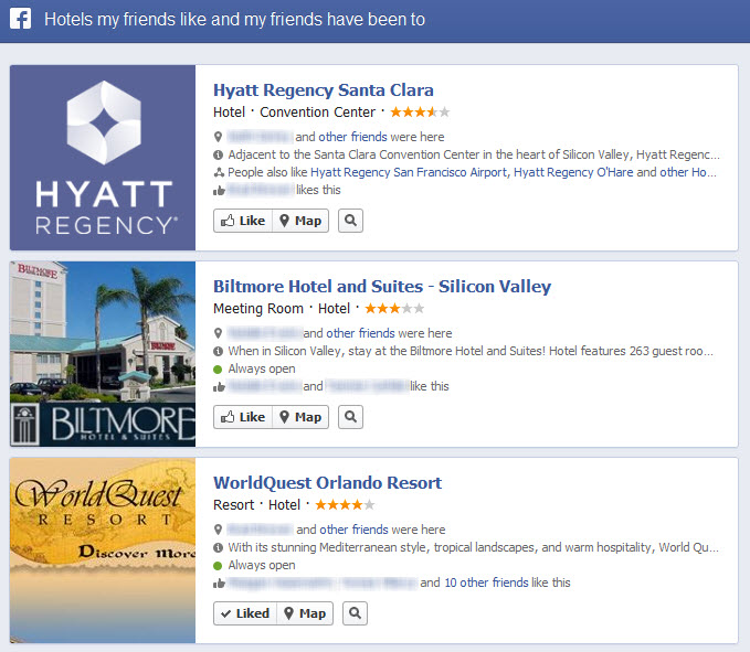 Facebook Graph Search Hotels My Friends Like and Have Been to