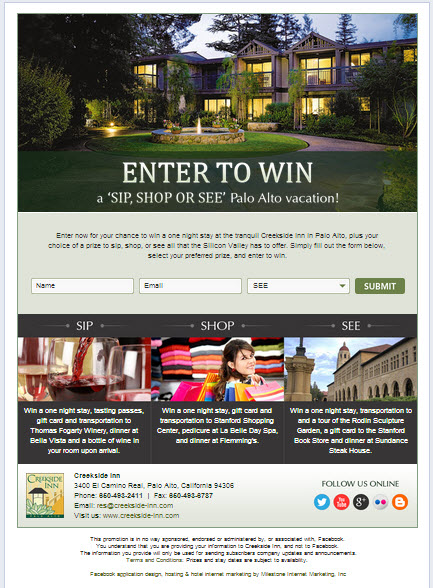 Creekside Inn Sweepstakes