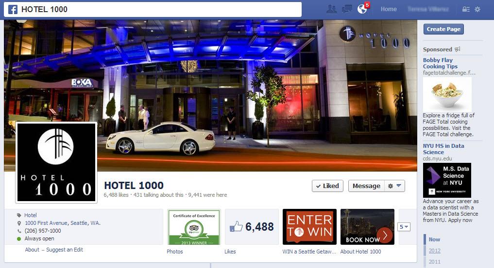 Hotel 1000 Facebook Page