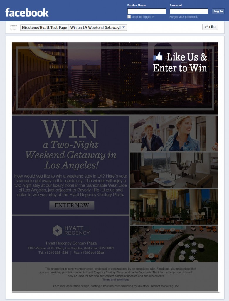 Hyatt Regency Century Plaza - Facebook Contest