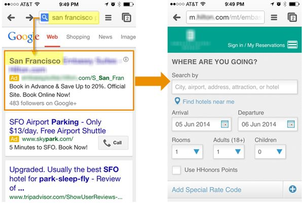 google mobile search results listing