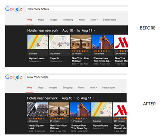 Google Carousel Before and After Pigeon