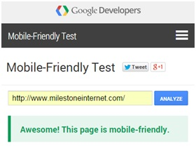 mobile-friendly test on Milestone Internet Marketing Agency for hotels