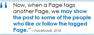 Facebook page tags show to new users