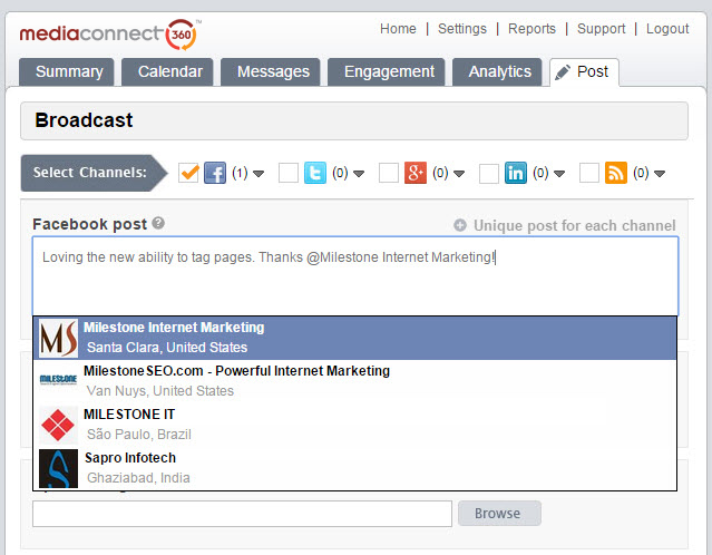 MediaConnect360 social media management tool facebook tagging