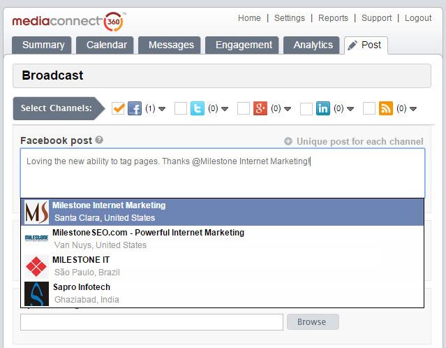 MediaConnect360 social media management tool facebook tagging