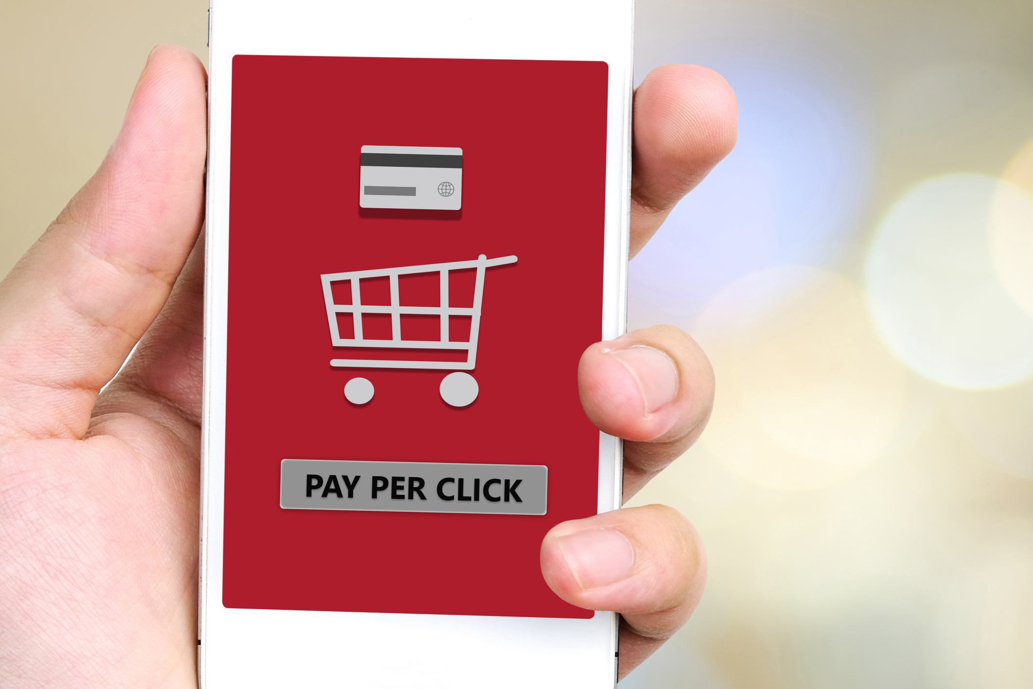 Pay per click on smart phone screen