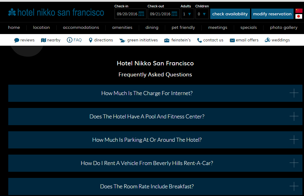 FAQ Module Hotel Nikko Website