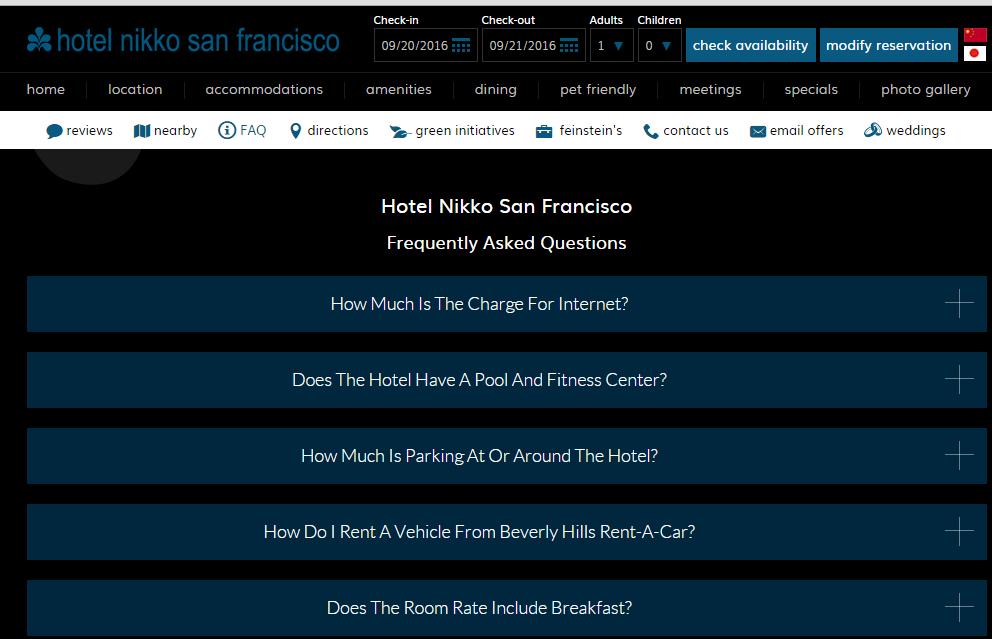FAQ Module Hotel Nikko Website