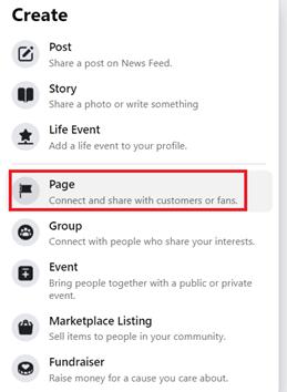 Facebook Page Menu