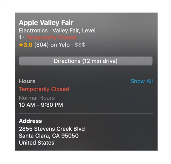 apple maps temporary closures