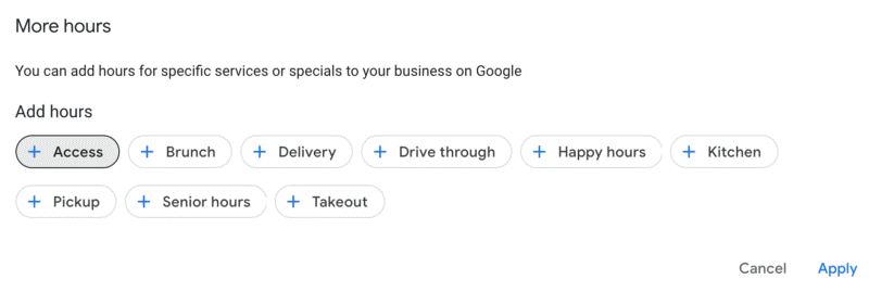 Google My Business - types of more hours