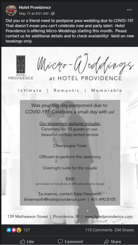 Hotel providence offering micro weddings