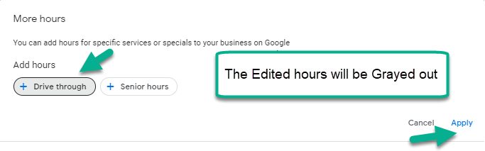 Google My Business - Edit hours will be in grey