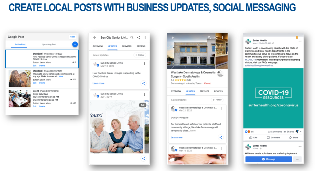 Create local post with business updates and social messaging