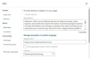 Adding link to LinkedIn Profile 2021 - milestoneinternet.com, Milestone Inc.