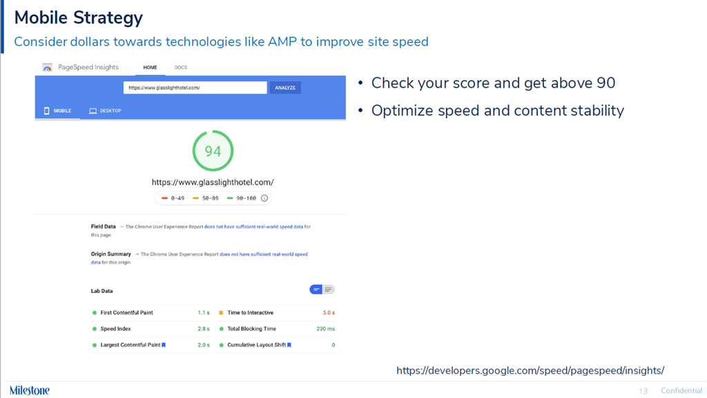 Consider dollars towards technologies like AMP to improve site speed