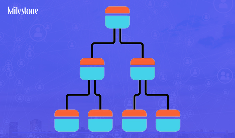 Tree diagram color icon. Hierarchical system. Node link diagram. Visual representation of processes and relationships. Tree structure. Sequence and submission. Isolated vector illustration