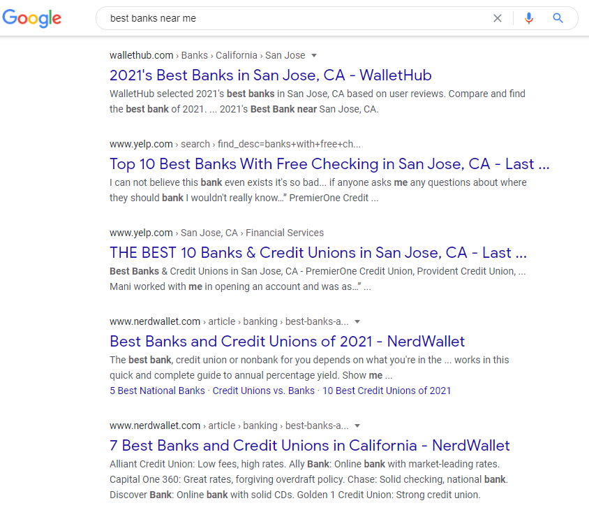 """Search for """"best banks or credit unions near me"""" Snippet  - milestoneinternet.com, Milestone Inc."""